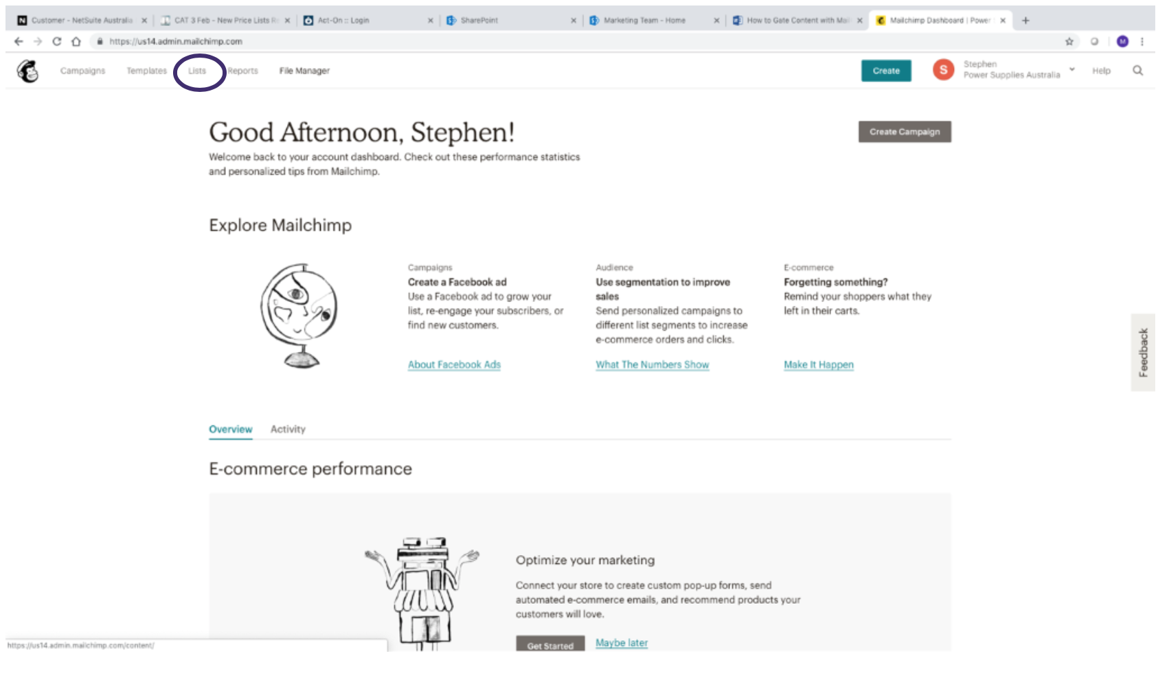 Creating a list in MailChimp 1