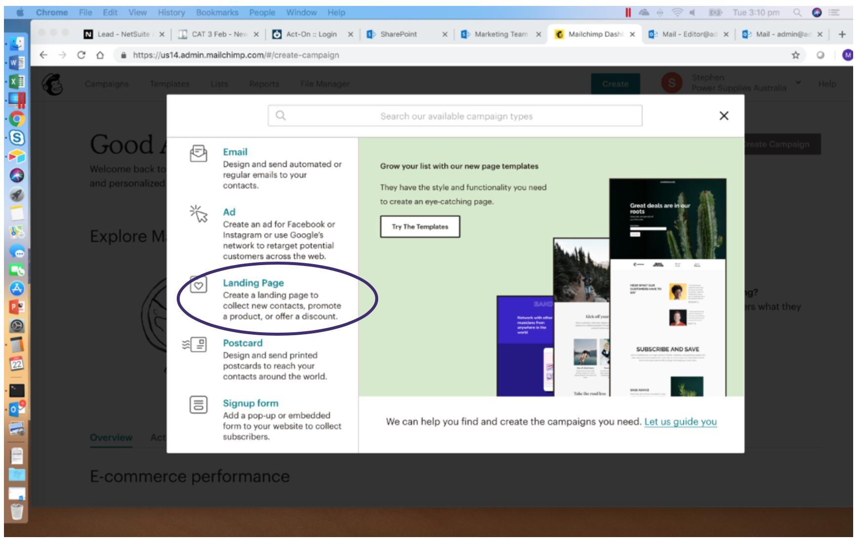 Creating MailChimp Landing Page 2