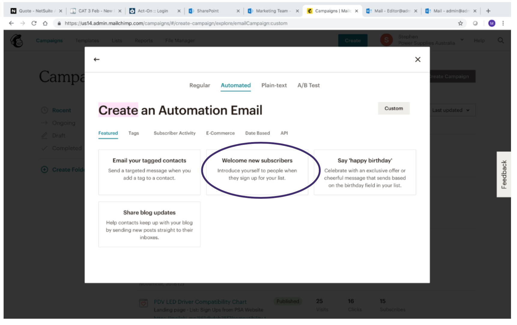 Creating MailChimp Automated Message 5