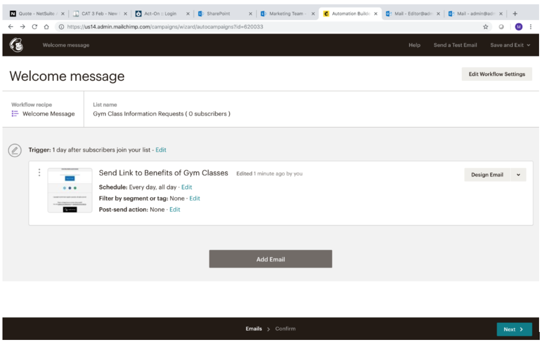 Creating MailChimp Automated Message 12